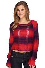 Fox Racing Women's Glimmer Crop Long Sleeve Sweater - Dark Red - Size Small
