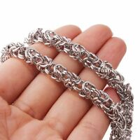 Mens 8mm Handmade Silver Tone Stainless Steel Byzantine Link Chain Necklace 24""