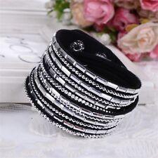 Tia Jewlery Rhinestone Leather Wrap Bracelet Wraparound Cuff Bangle Women New