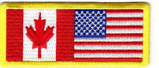 Canada-USA Flags - Iron On Patch Patriotic American Canadian
