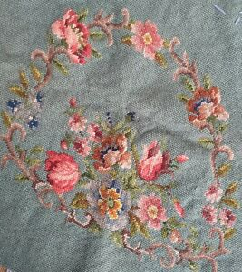 ANTIQUE WOOLWORK EMBROIDERY CHAIR COVER