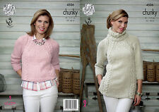 "King Cole Chunky Knitting Pattern 4506:Tunic &  Sweater  32""-46"""