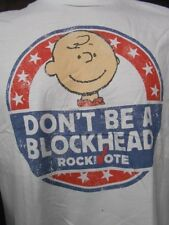 Mens Licensed Peanuts Charlie Brown Don't Be A Blockhead Vote Shirt New L