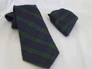 "A)Watch>Green/Black/Navy TARTAN Polyester Classic Tie & Hanky Set-3.3""=8cm Width"