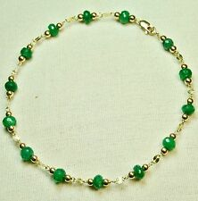 14k solid yell. gold 4x3mm faceted rondelle real Emerald bracelet 7 1/2 inches