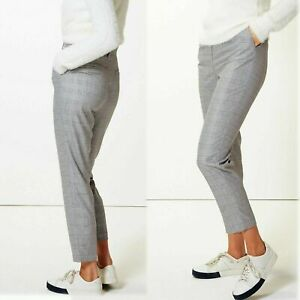 M&S High Rise TAPERED Ankle Grazer TROUSERS ~ Size 16 Regular ~ GREY BLUE CHECK