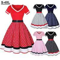 50s 60s Vintage Women V-Neck Hepburn Polka Dot Party Cocktail Summer Swing Dress