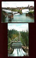 Y63  (2 Pcs.) Spokane River Midddle Falls 1908  -  Electron Power Station 1909