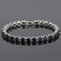 6mm Round Black Onyx Gemstone 18K White Gold Plated Tennis Women Bracelet