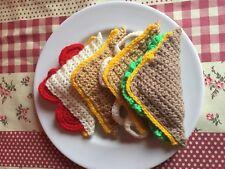 4 Cheese Sandwiches Triangle Sandwich Lettuce Tomato Onion Crocheted Handmade
