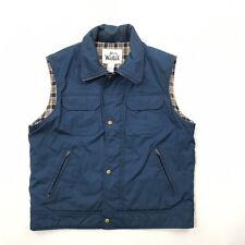 Woolrich Vest Size Large Mens Blue Flannel Lined Vintage 1960s Outdoor Hunting