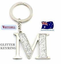 WHITEHILL SILVER GLITTER KEYRING (letter M)