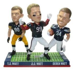 Texans Steelers Chargers J.J. T.J. Derek WATT 3 Bobbleheads NFL Cheese Heads WI!