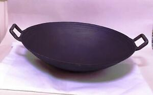 "Wok 14""/35.5cm Dia round base cast iron wok  Guaranteed quality"