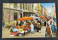 Marche aux Fleurs (Flower Market) French Vintage Postcard (Unposted)
