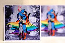"#3154 Rainbow Pride Love Batman Kissing Superman Retro comics 4"" Decal Sticker"