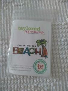 NEW TAYLORED EXPRESSIONS RUBBER EMBOSSING BEACH STAMP,FUN IN THE SUN,PALM TREE,