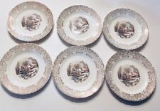 """6 Currier & Ives Royal Monach First Quality China 22kt GOLD trim  6"""" Plates"""