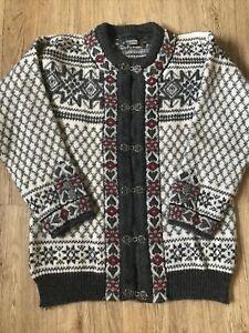 """Vintage Dale Of Norway 100% Wool Nordic Grey Floral Ladies Cardigan L 40"""" Chest"""