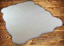 FUR ACCENTS Faux Fur Sheepskin Area Rug Random Shape White Shag All Sizes
