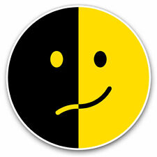 2 x Vinyl Stickers 7.5cm - Yellow Black Smile Face Smiley Cool Gift #9229