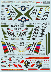 Print Scale 72-160 1/72 scale Decal for airplane - Us Navy A-7 Corsair II Part 1