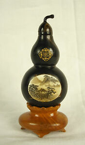 Old / Ancient Snuff Bottle Citrullus Colocynthis Signed Wood China 65mm