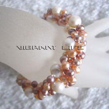 """8"""" 4-9mm Multi Color 4Row Freshwater Pearl Bracelet Magnetic Clasp UE"""