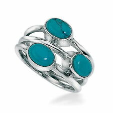 Turquoise Silver Plated Band Fashion Rings