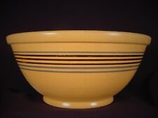 VERY RARE AMERICAN 1800s BENNETT POTTERY 6 BLUE & BLACK BAND BOWL YELLOW WARE