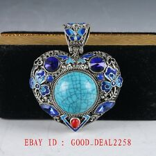Chinese Delicate Cloisonne Inlaid Turquoise Pendant  DZ043