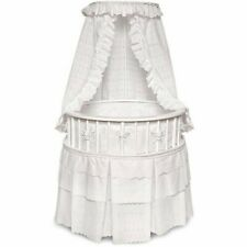 Badger Basket White Elegance Round Baby Bassinet, White Eyelet  914
