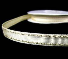 "2 Yds Metallic Gold Side Saddle Stitched Ivory Grosgrain Ribbon 3/8""W"