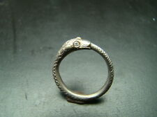 Very Cool and Unique Sterling Silver and 14k gold snake ring with diamond eyes