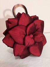 MOD BY DESIGN RED BURGUNDY SILK LOTUS ROSE FLOWER EVENING CLUTCH HAND BAG PURSE