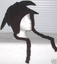 NEW fleece jester snowboarding hat solid black w/ties