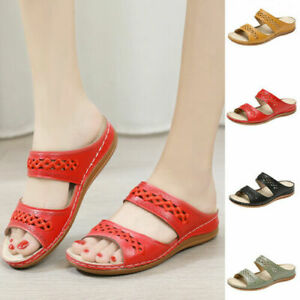 Women Orthopedic Sandals Embroidery Mules Summer Flip Flops Slippers Flat Shoes^