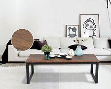 Rustic Coffee Table Furniture Industrial Wood Black Brown Metal Cocktail Dark