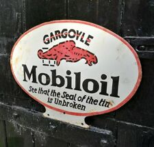 Mobiloil enamel sign Mobil oil sign Gargoyle porcelain sign Vacuum Oil Company