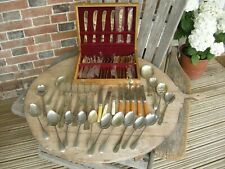 Job Lot Vintage / Antique Silver Plated Cutlery including canteen of gold tinted