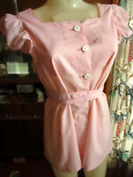SMALL True Vtg 70's Womens ROSE PINK EMBROIDERED FRITZI BELTED SHABBY FROCK TOP