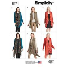 SIMPLICITY SEWING PATTERN MISSES' KNIT CARDIGAN  VEST DRAPED FRONT XXS-XXL 8171