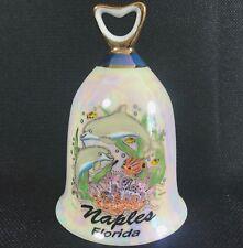 """Naples Florida Souvenir Bell Porcelain Collectible 4.5"""" Dolphins Sea Life"""