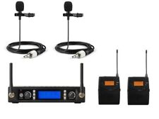 UHF Dual Wireless Cordless Lavalier Lapel Collar Tie Clip on Microphone System