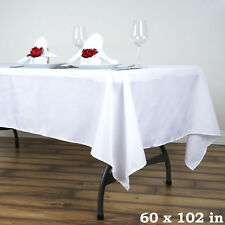 5 WHITE 60x102 RECTANGLE POLYESTER TABLECLOTHS Wedding Catering Supplies SALE