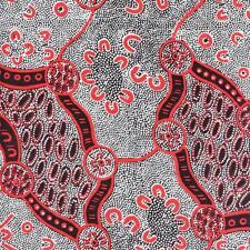 Women Dreaming 2 Black Australian Aboriginal Quilt Fabric M & S TEXTILES