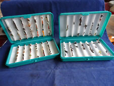 2X GOOD PLASTIC FLY BOXES WITH A SMALL COLLECTION OF FLIES
