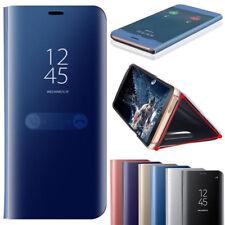 Für Samsung Galaxy S7 S8 + S9 Spiegel Smart View Spiegel Leder Flip Case Cover