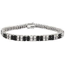 Rhodium Finsih Black and White Square Cubic Zirconia Tennis Bracelet