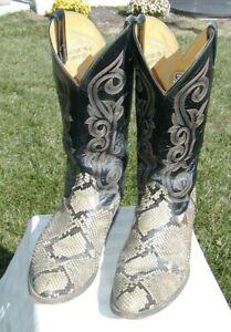 Nocona Snakeskin Cowboy Western Boots Mens Size 9-1/2 D vintage worn